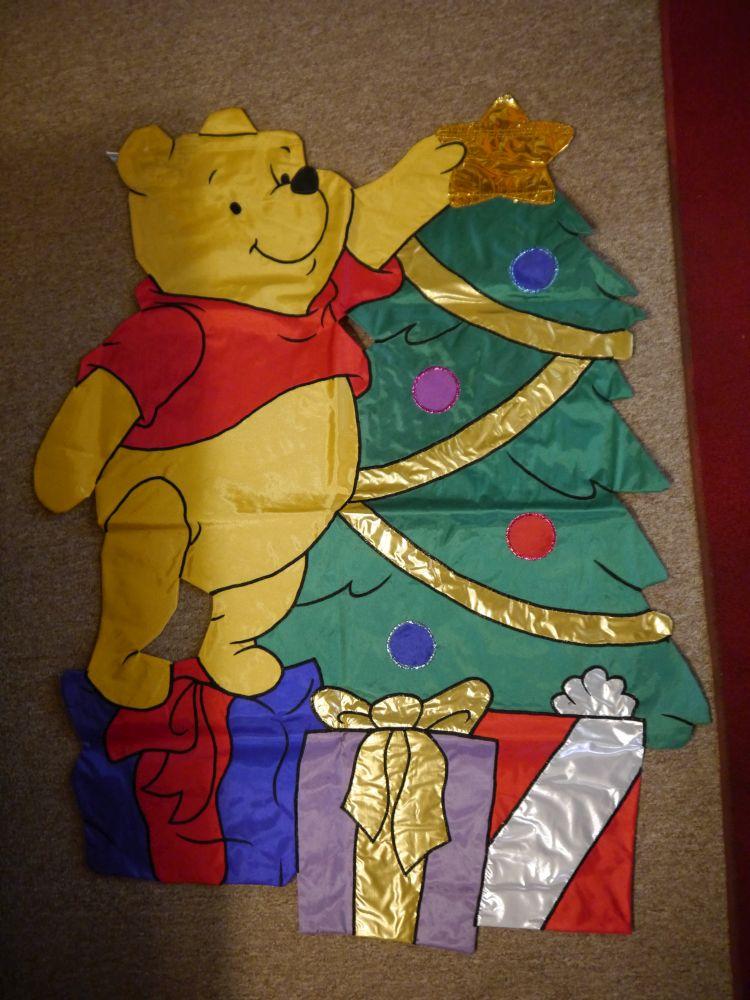 disney winnie the pooh christmas tree garden banner flag - Pooh Christmas