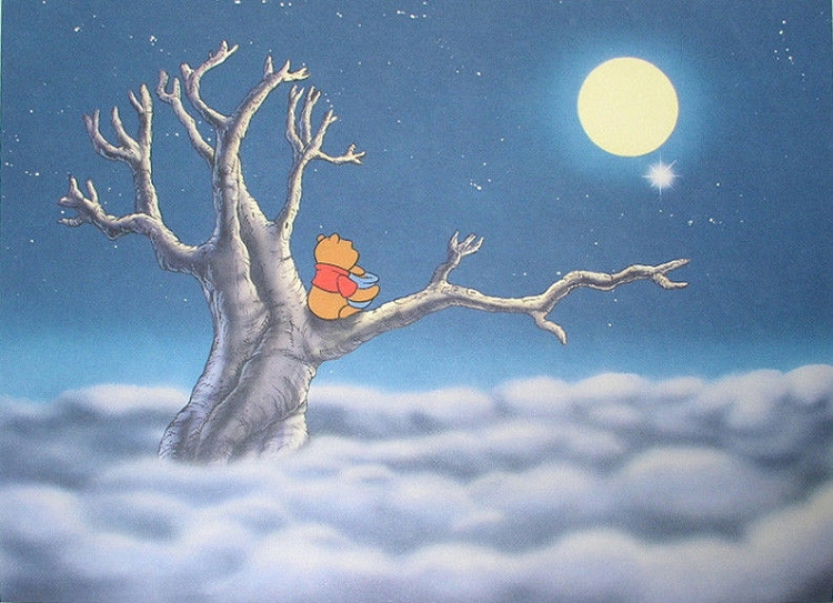 Winnie The Pooh Watching The Moon Lithograph Print 11 Quot X14 Quot