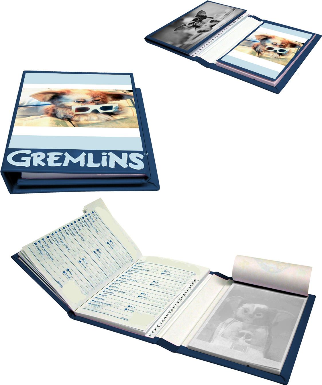 gremlins tri fold address book notepad portfolio