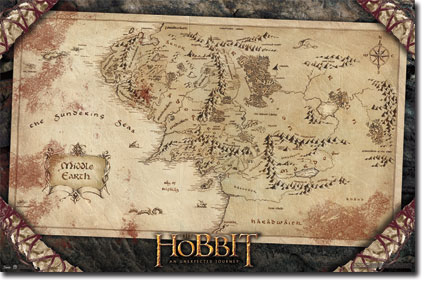 the hobbit an unexpected journey middle earth map poster