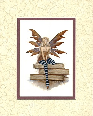 "Book Faery, Print Matted 8""x10"" (Marble)"