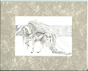 "White Angel, Carousel Horse, Print Matted 8""x10"""