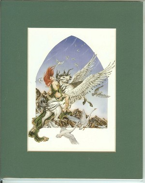 "Faery of Flight, Print Matted (Green) 8""x10"""