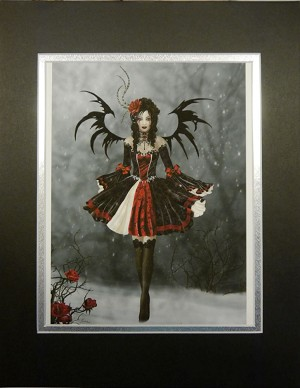 Gothic Princess, Giclee Print Matted Black Silver