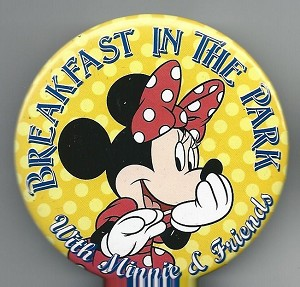 Disneyland Breakfast in The Park Minnie Mouse Button