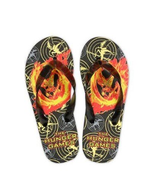Hunger Games Mockingjay on Fire Flip Flop Size Small (Women's Size 5/6)