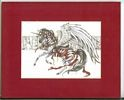 Moonlight Silver, Red Matted Carousel Horse Print