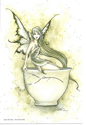 "Green Tea Faery, Print 6""x9"""