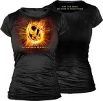 Mockingjay Logo on Fire Junior Girls Shirt - X-Large