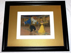 "Beauty and the Beast, Matted Lithograph Print Framed 19""x23"""
