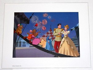 "Cinderella and Prince Charming, Fireworks, Lithograph Print 11""x14"""