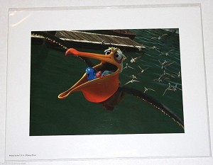 "Marlin and Dory Ride in a Pelican, Lithograph Print 11""x14"""