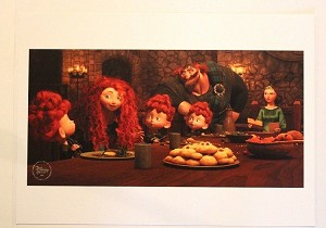 "Brave Merida Family Dinner, Lithograph Print 11""x14"""