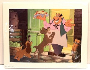 "Lady and the Tramp, Tony's Spagetti, Lithograph Print 11""x14"""