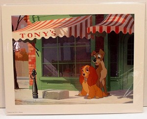 "Lady and the Tramp, Tony's Italian Restuarant, Lithograph Print 11""x14"""