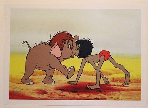 "The Jungle Book, Mowgli & Junior Elephant, Lithograph Print 10""x14"""