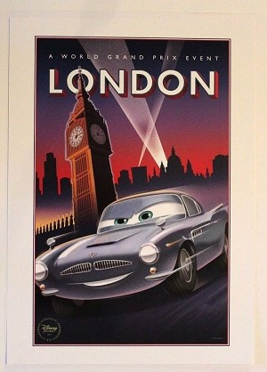"Cars London World Grand Prix Poster, Lithograph Print 10""x14"""