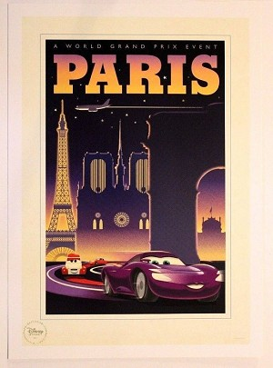 "Cars Paris Grand Prix Poster, Lithograph Print 10""x14"""