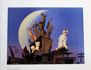 "Lady and the Tramp Dog Pound Crew at Night, Lithograph Print 11""x14"""