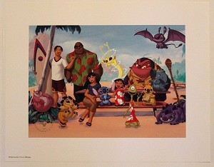 "Lilo & Stitch with Crew on Beach, Lithograph Print 11""x14"""