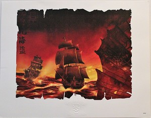 "Pirates of the Caribbean Ships, Lithograph Print 11""x14"""