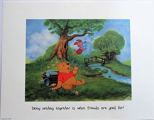 "Winnie the Pooh, Christopher Robin, ""Doing Nothing"", Lithograph Print 11""x14"""