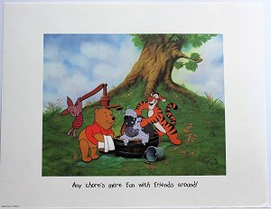 "Winnie the Pooh, Christopher Robin, ""Chores"", Lithograph Print 11""x14"""
