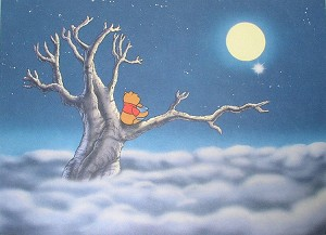 "Winnie the Pooh watching the Moon, Lithograph Print 11""x14"""
