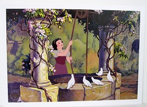 "Snow White at Well, Lithograph Print 10""x14"""