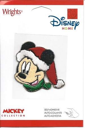 Mickey Mouse in Santa Hat, Embroidered Patch