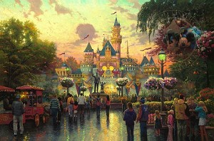"Disneyland 50th Annivesary, Lithograph Art Print 11""x15.5"""