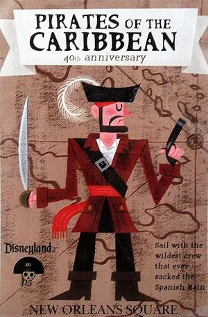 "Disneyland New Orleans Square, Pirates of the Caribbean, Lithograph Print 11""x15.5"""