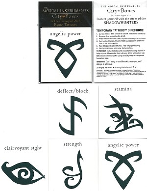 Mortal Instruments Set of 5 Temporary Tattoo's