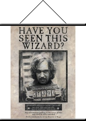 "Sirius Black, Wanted Poster, Wall Hanging Scroll 22""x32"""