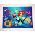 Little Mermaid with Sebastian and Flounder, Lithograph Art Print