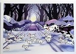 101 Dalmatians, Pongo & Puppies Crossing Snow, Lithograph Art Print 10