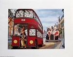 101 Dalmatians in London, Cruella De Vil, Thunderbolt, Double Decker Bus, Lithograph Art Print 11