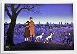 101 Dalmatians, Pongo, Perdita, Roger & Anita at Night, Lithograph Art Print 10
