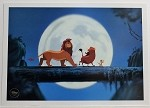 The Lion King Simba with Timon and Pumba in Moonlight, Lithograph Print 10