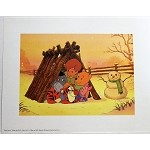 Winnie the Pooh, Christopher Robin, and Crew in Snow, Lithograph Print 11