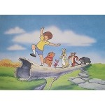 Winnie the Pooh, Christopher Robin, and Crew Marching on Log, Lithograph Print 11