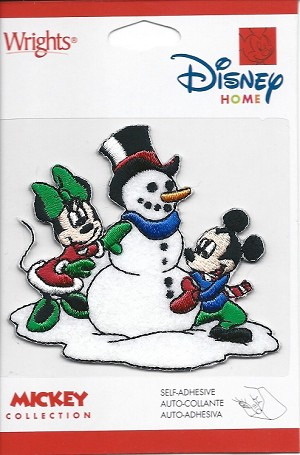 Mickey & Minnie Mouse Build a Snowman, Embroidered Patch